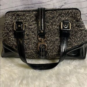 Talbots Patent Leather and Tweed Bag Purse